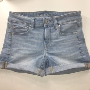 blue american eagle shorts